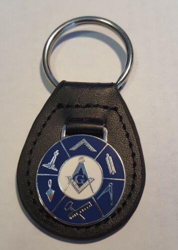 NEW - Masonic Lodge Leather Keyring with Silver Medalion