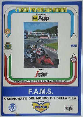 4th F1 GP GRAND PRIX SAN MARINO IMOLA 1984 REGOLAMENTO GARA MATCH REGULATIONS