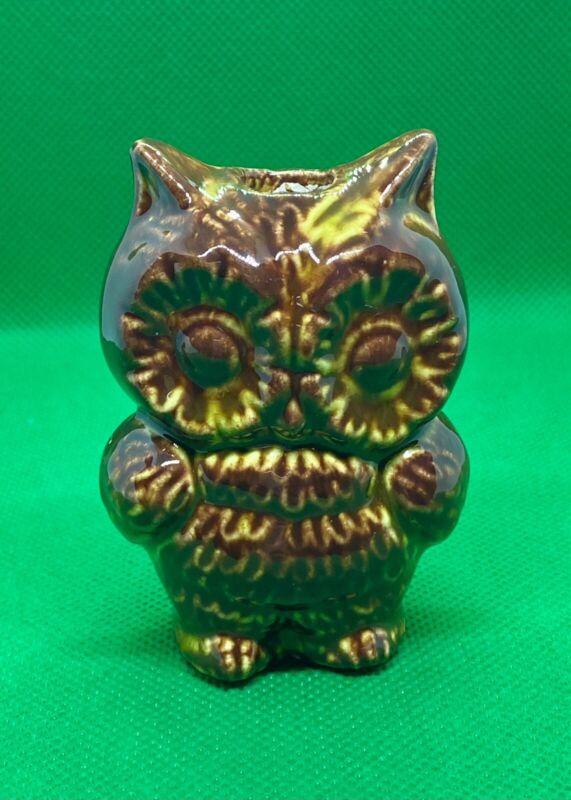 "3"" Tall Vintage Ceramic Macrame Bead Brown Owl New Old Stock"