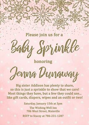 Baby Sprinkle Invitation, Baby Girl, Winter, Snow, Christmas, Pink, - Christmas Baby Shower Invitations