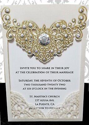 Elegant Laser Cut Pocket w Insert Wedding Invitations PKG Invitation Pocket Inserts