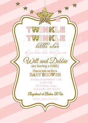 Twinkle Twinkle Little Star Baby Shower Invitations In Pink And Gold