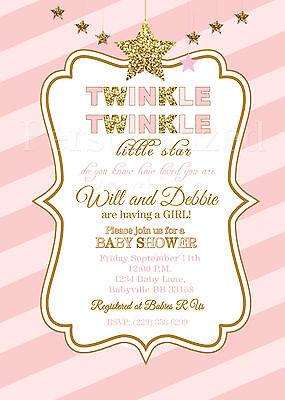 Twinkle Twinkle Little Star baby shower invitations in pink and - Twinkle Twinkle Little Star Invitation