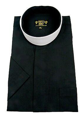 - Men's Black Short Sleeve Full Collar Neckband Clergy Shirt w/1.50