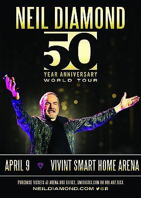 "NEIL DIAMOND ""50 ANNIVERSARY WORLD TOUR"" SALT LAKE CITY 2017 CONCERT POSTER"