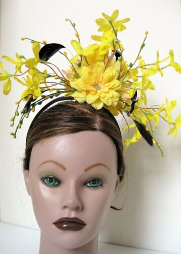 Yellow Black Feather Flower  Kentucky Derby Fascinator Hair Headpiece Headband