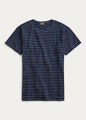 RRL Ralph Lauren Indigo Striped Jersey T Shirt Dobby Stitched NWT XL