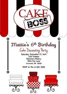 Cake Boss Cupcake Boss Theme Custom Birthday Party Invitation Cake Decorating Cupcake Birthday Party Invitation