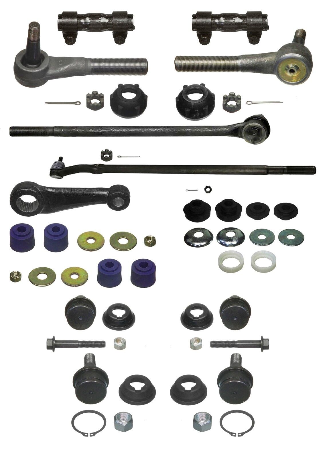 14 Piece HD Steering Kit fits Ford F-350 with 4200 lb GVW Front Axle 1987-97 2WD