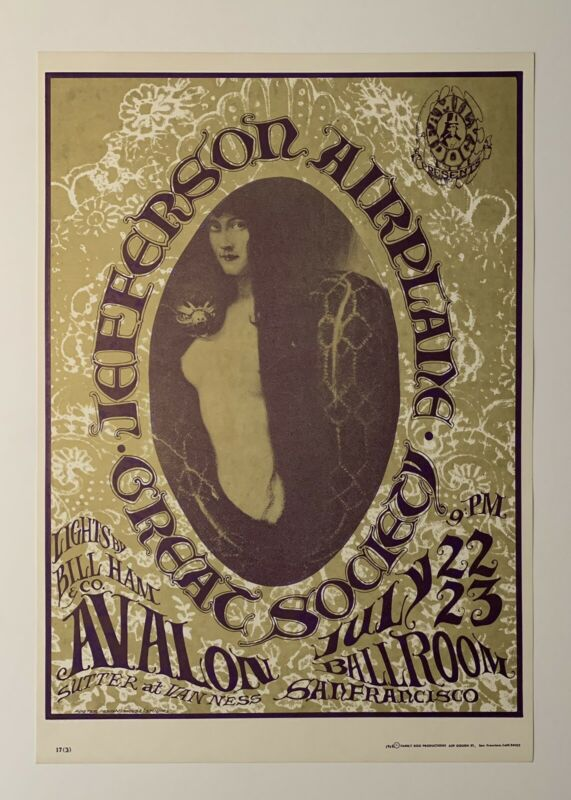 Jefferson Airplane and The Great Society Original 1966 Concert Poster