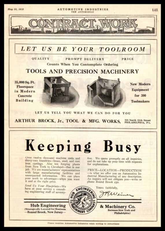 1919 Hub Engineering & Machine Company Bound Brook New Jersey Vintage Print Ad