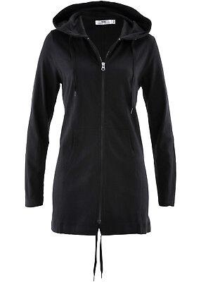 Shirt-jacke (Shirtjacke mit Kapuze dünn, Parka-Jacke, Damenjacke, Longjacke schwarz 637 NEU)