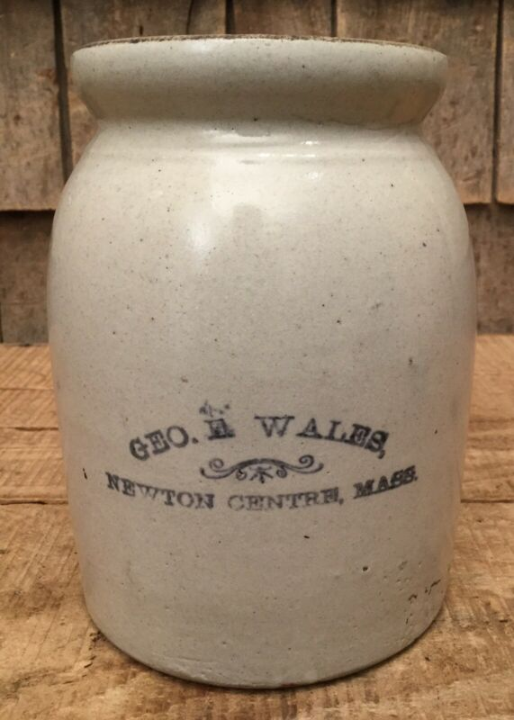 Antique CERAMIC Early Jar Jug Marked GEO WALES NEWTON CENTRE MASS.