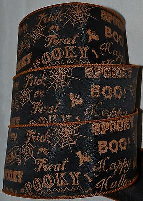 Wired Ribbon~Happy Halloween Sayings~Boo~Trick or - Halloween Treat Sayings
