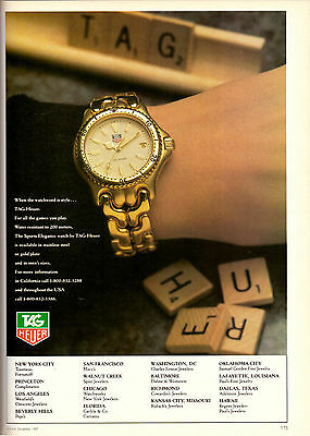 1987 Tag-Heuer Gold Watch Fashion Scrabble Board Game Vintage Print Ad 1980s