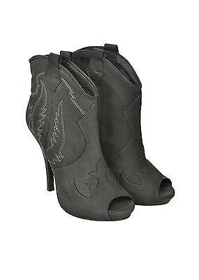 ASH Ankle Boots in pelle punta tonda aperta cerniera laterale pelle 100% PROMO