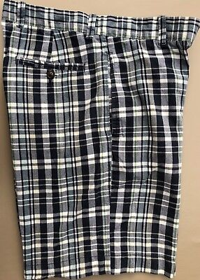 Madras Plaid Shorts (Men J.CREW Vintage Madras Plaid Shorts Lightweight Cotton White/Green/Blue Sz 31)