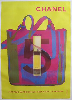 1998 ORIGINAL CHANEL NO.5 POSTER (YELLOW & PINK) FASHION ADVERTISEMENT POSTER
