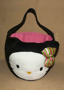 Sanrio Hello Kitty Black Cat Plush Basket & Figural Eggs for Halloween or Easter