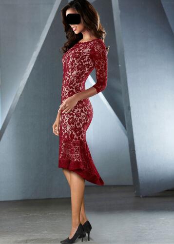 Spitzen Kleid in rot / beige festlich + Abend  Party Event Clubwear