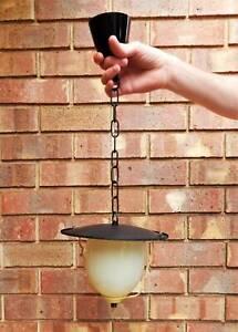 Vintage Retro Black and Cream Lantern Pendant Light