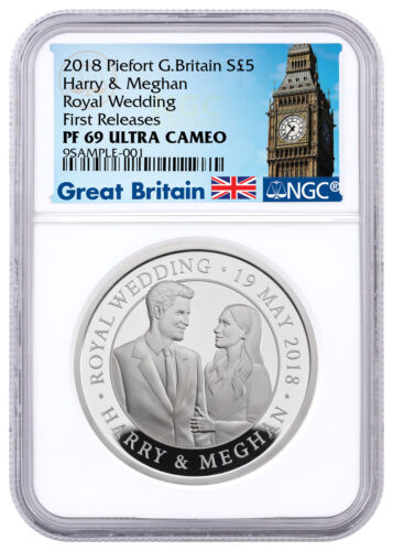 2018 Great Britain - Royal Wedding Piedfort Silver £5 NGC PF69 UC FR SKU53791