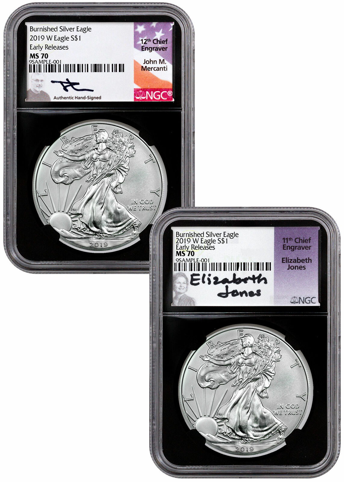 2019 W Proof American Silver Eagle NGC PF70 UC FDI Black Core Weinman SKU56274