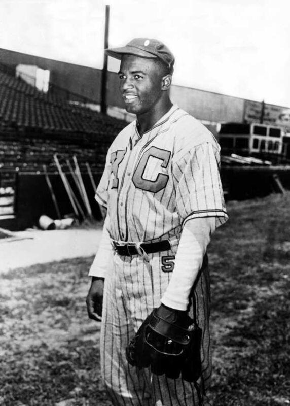 Jackie Robinson in uniform of Kansas City Monarchs   1945