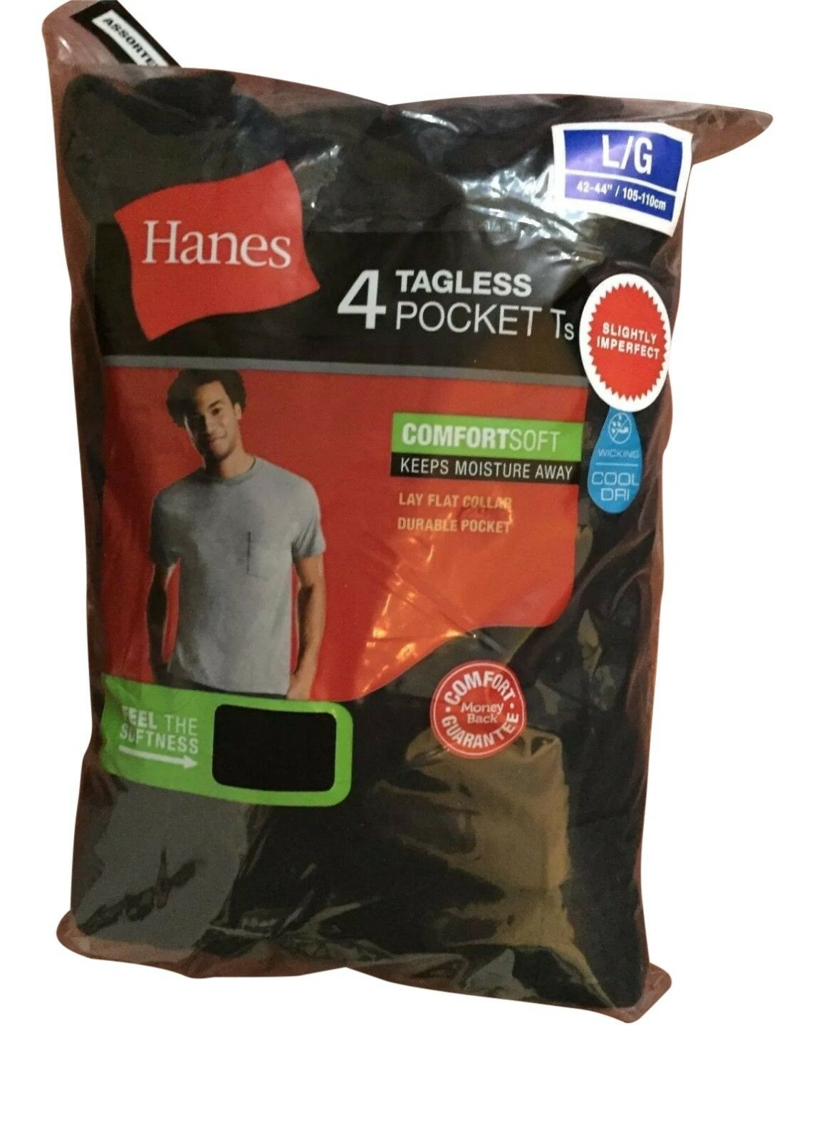 4 pack hanes mens pocket t shirt choose your size & color