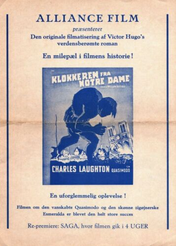 The Hunchback of Notre Dame Charles Laughton Vtg 1939 Danish Movie Press Release