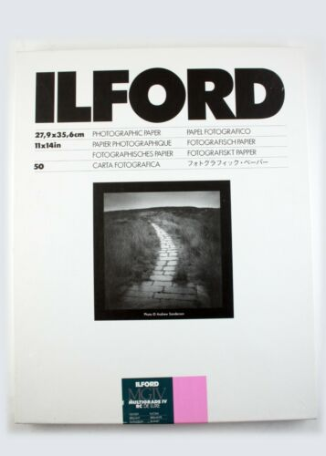 """197221 Ilford MG IV RC Deluxe 11x14"""" Glossy Photo Paper Open 50-Sheet Box"""