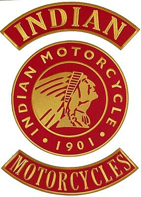 "Vintage Style Indian Motorcycle Back Patch set. Top & Bottom Rocker + 10"" Center"