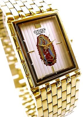 Vintage citizen Guadeloupe mens watch gold tone white dial .