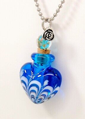 Handmade Cremation Urn Necklace    Blue Art Glass Heart    Jewelry for Ashes