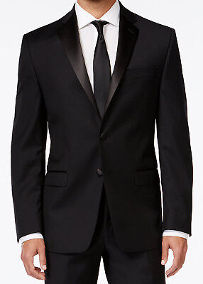 Prom Suit (Men's Black Calvin Klein Tuxedo with Flat Front Pants Formal Wedding Mason Prom)