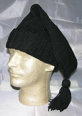 Hand Made Knitted Voyager Hat -  Black (French/Mountain Man) **NEW**