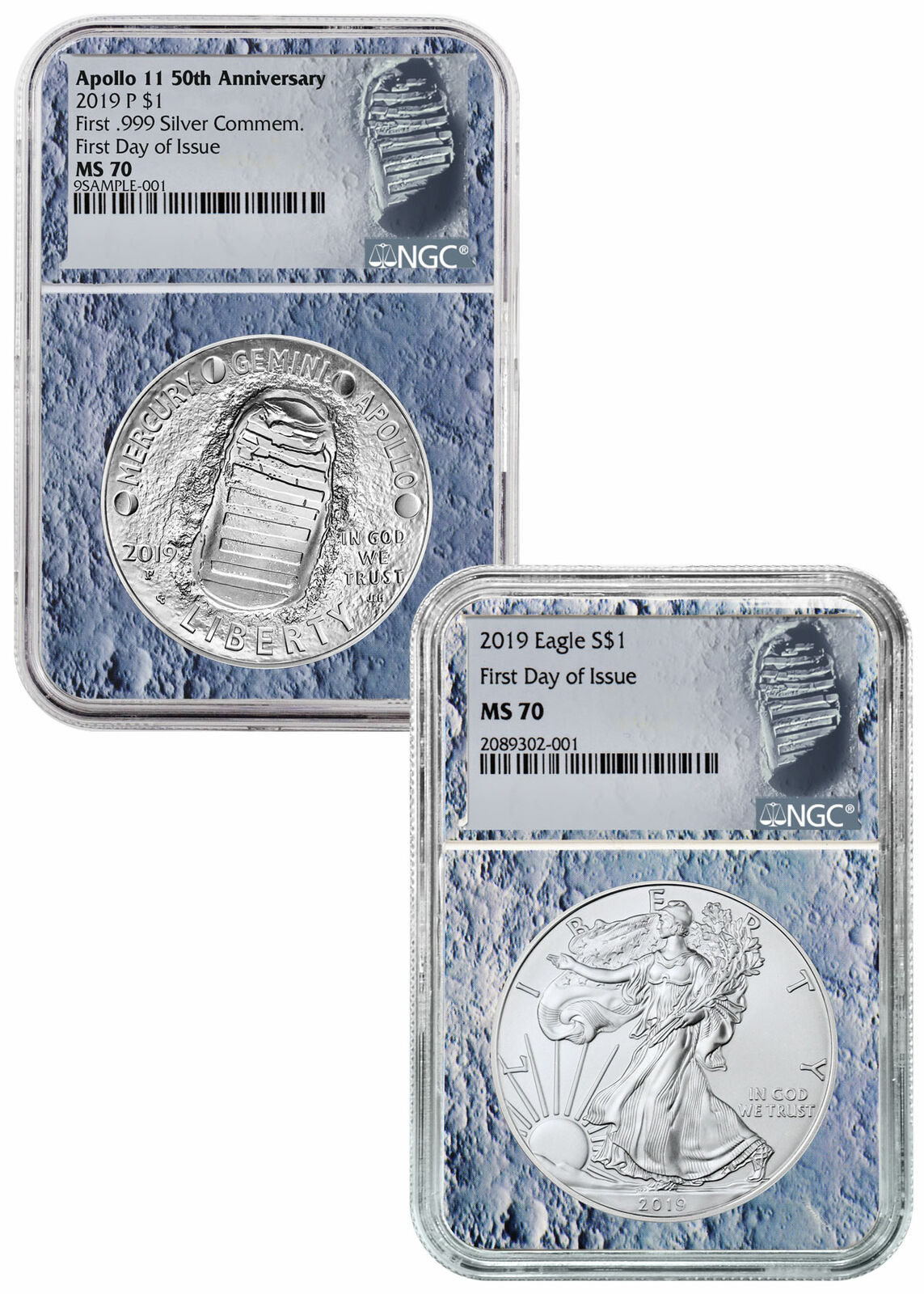 2019-P UNC $1 Apollo 11 50th Ann Silver Dollar NGC MS70 FDI ASF Label