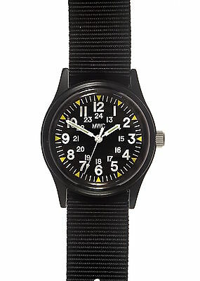 MWC Matt Black 1960/70s Vietnam Pattern Military Watch on Black Strap / Band