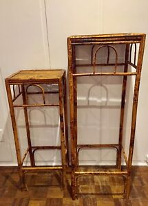 Vintage Matching Bamboo Stands/Tables -Set of 2; 2 heights
