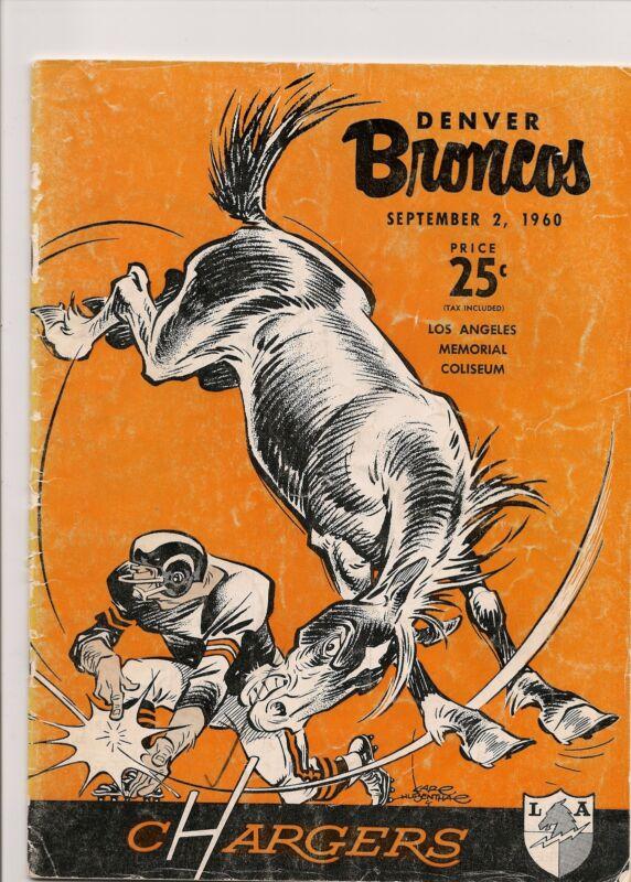 1960 Los Angeles Chargers-Broncos AFL Pre -Season Program  RARE!!