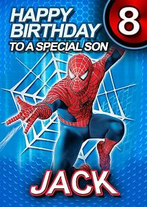 SPIDERMAN - PERSONALISED Birthday Card Add Your Own Name Age Relative Grandson