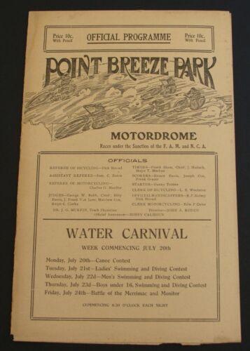 1914 Motordrome Motorcycle Original Program Point Breeze Park Philadelphia RARE!