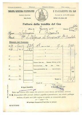 COMPAGNIA NAPOLITANA D'ILLUMINAZIONE E SCALDAMENTO CON GAS 9 FATTURA 1911 NAPOLI