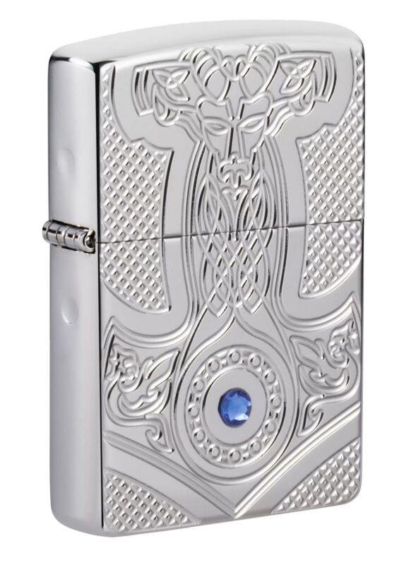 Zippo Medieval Design Armor High Polish Chrome Windproof Pocket Lighter, 49289