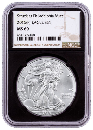 2016-(P) Silver Eagle Struck at Philadelphia Mint NGC MS69 Black Core SKU46712