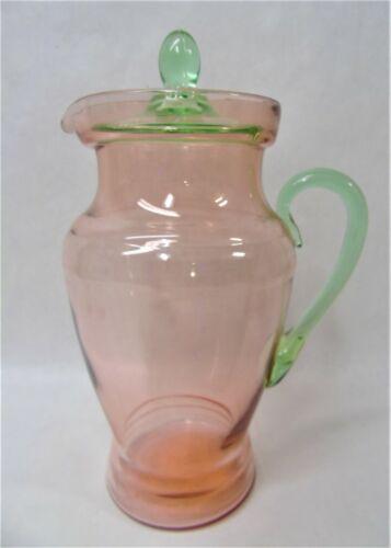Vintage Depression Tiffin Pink & Green Watermelon Pitcher u759