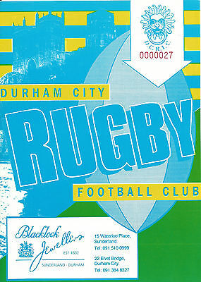 DURHAM CITY RUGBY UNION v WESTOE DURHAM COUNTY CUP  PROGRAMME 23 JANUARY 1993