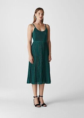 Whistles Regina Sparkle Pleated dress US 6