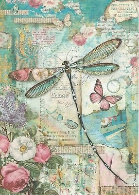 Rice Paper for Decoupage Scrapbook Craft Sheet Wonderland Blue Dragonfly