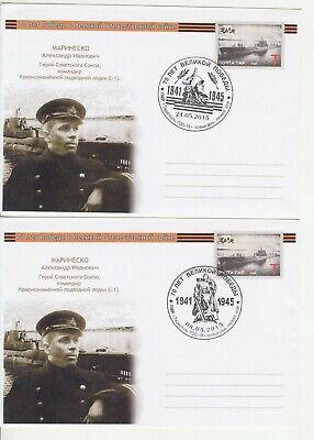 2015 , Transnistria  WWII  Submariner , Marinesco Submarine  2 pre-paid envelopes